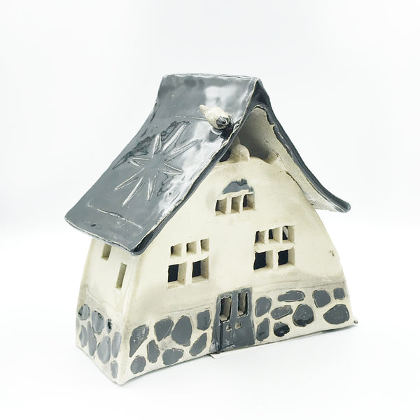 Ceramic House Lantern in Raku White with Black Stones
