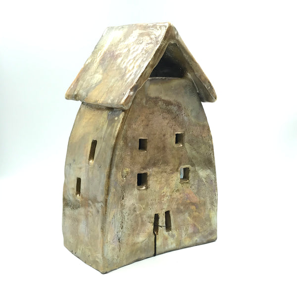 Ceramic House Lantern in Golden Raku