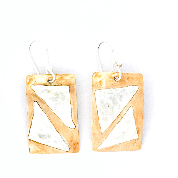 Bronze Rectangle with Sterling Silver Triangle  Drop Earrings