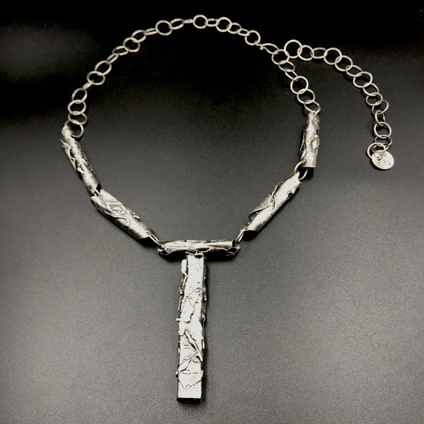 Fused Sterling Silver Rolled Reticulated Pendant Necklace