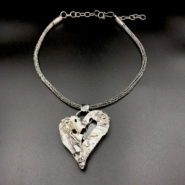Fused Sterling Silver Heart Pendant with Viking Knit Chain Necklace