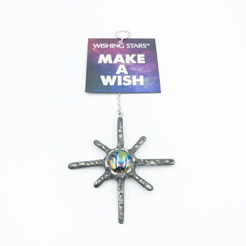 Wishing Star with Iridescent Blue Black Stone