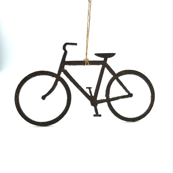 Rusted Steel Hanging Bicycle 5 1/2  x 3 1/2 inches
