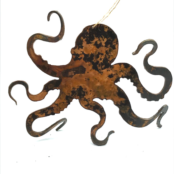 Rusted Steel Hanging Octopus 5 x 4 inches
