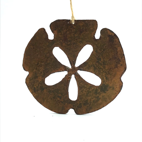 Rusted Steel hanging Sand dollar, 4 x 3 inches