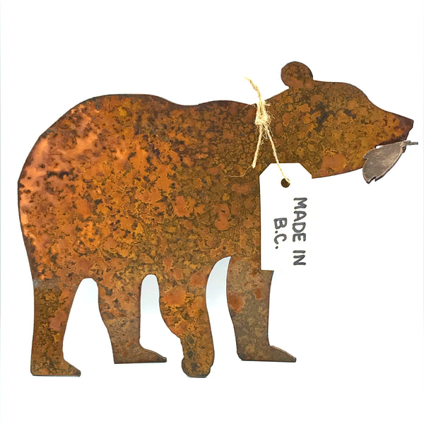 Rusted Steel Bear, Free standing 8 inches