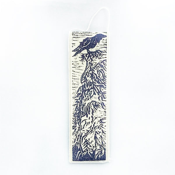 Bookmark with Blue Raven Print Design