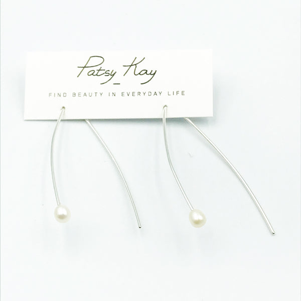 Sterling Silver Pretty Pearl Earrings with White Pearls
