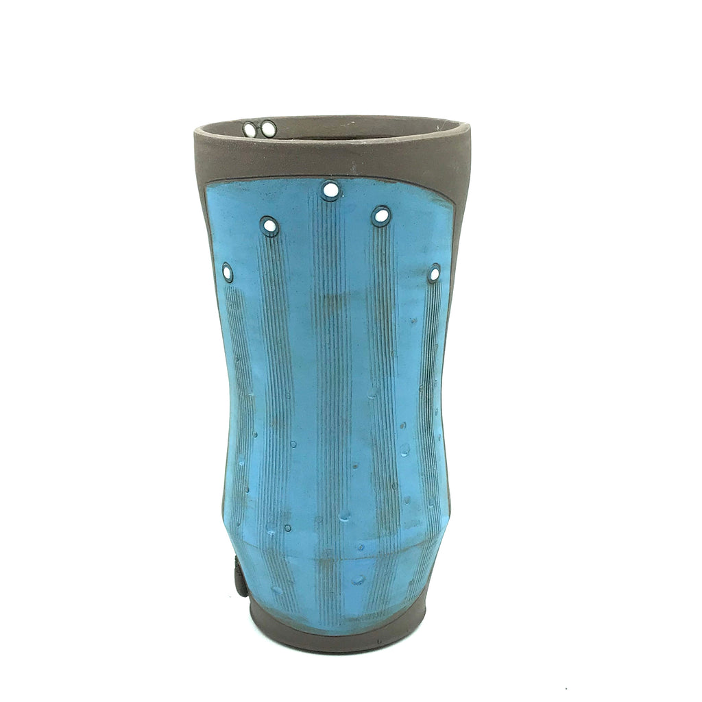 Ceramic Dark Clay Tall Tumbler, Blue with White Design