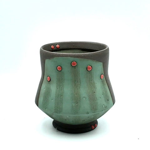 Ceramic Dark Clay Cocktail Cup, Green with Red Design