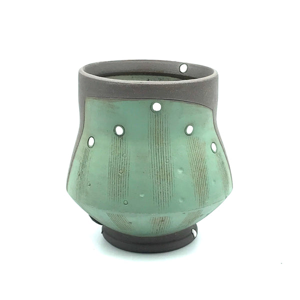 Ceramic Dark Clay Cocktail Cup, Green with White Design