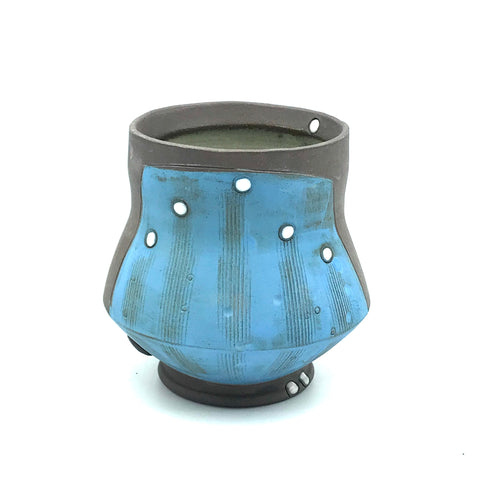 Ceramic Dark Clay Cocktail Cup, Blue with White Design