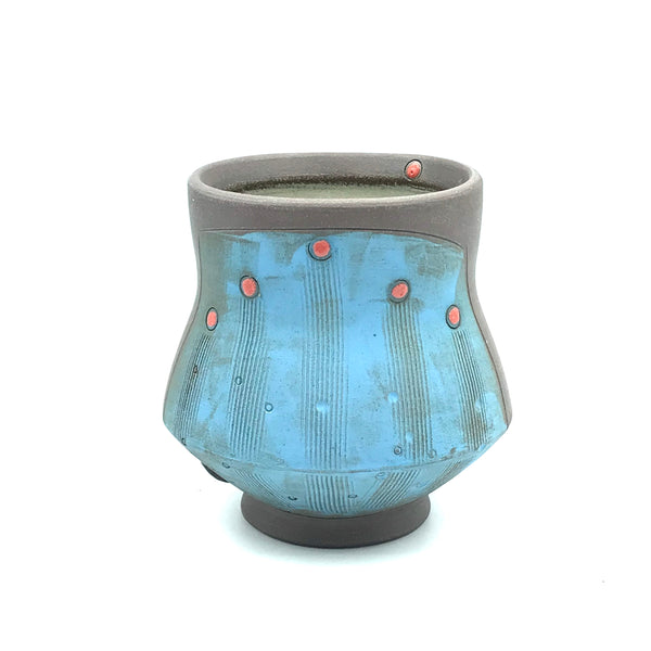 Ceramic Dark Clay Cocktail Cup, Blue with Red Design