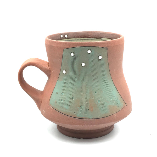 Ceramic Red Clay Mugs, Green with White Design