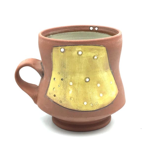 Ceramic Red Clay Mugs, Yellow with White Design