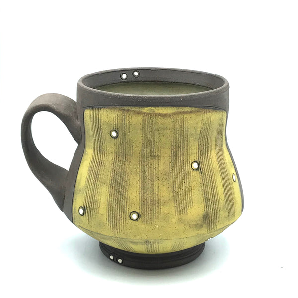 Ceramic Dark Clay Mugs, Yellow with White Design