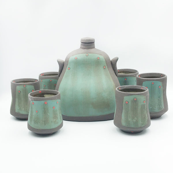 Ceramic Dark Clay Flask Set, Green with Red Design