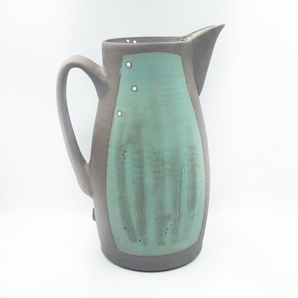 Ceramic Dark Clay Pitcher, Green with White Design, 9 inches