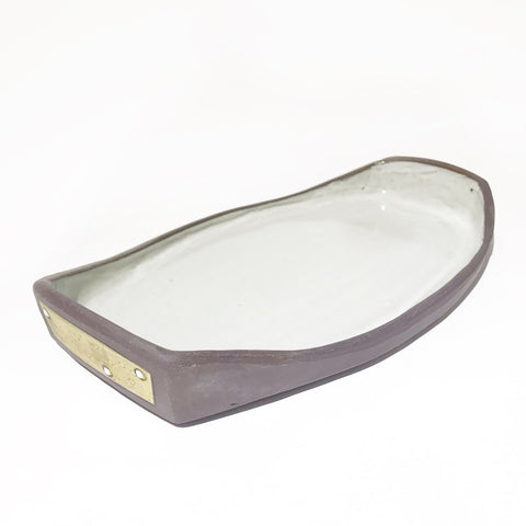 Ceramic Dark Clay Serving Platter with Raised Ends, Yellow with White Design