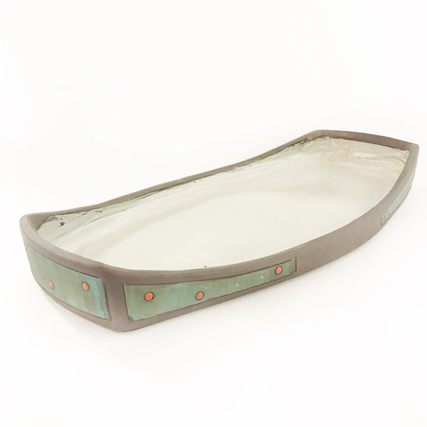 Ceramic Dark Clay Serving Platter with Raised Ends, Green with Red Design