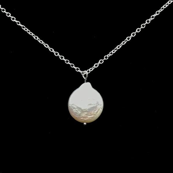 Sterling Silver with Fresh Water Pearl Pendant Necklace