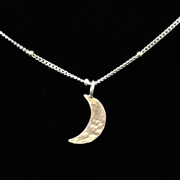 Sterling Silver Necklace with Smooth Crescent Moon Design