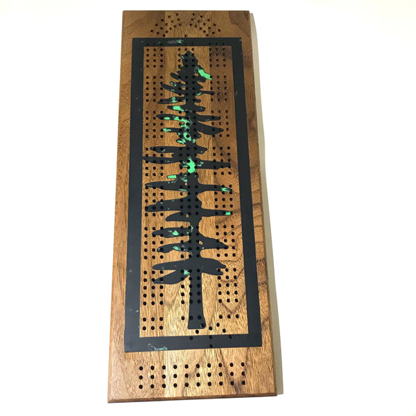 Cribbage Board with Black/Green Resin and Sitka Tree Design