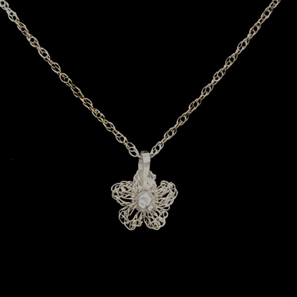 Apple Blossom Lace Pendant Necklace