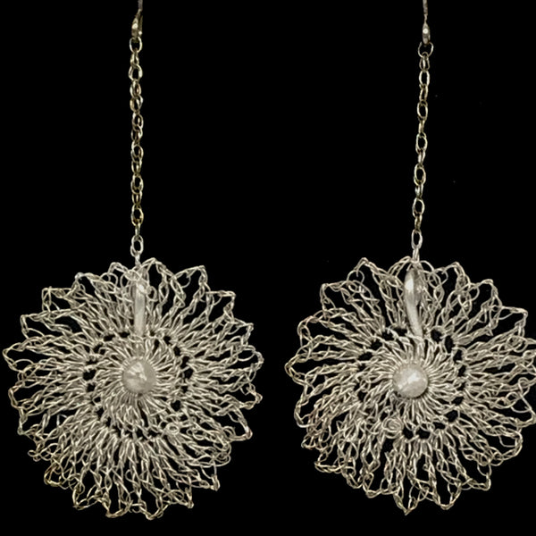 Hanging Melody Silver Lace Earrings