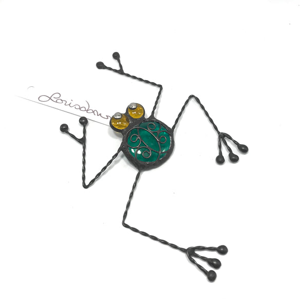 Glass and Wire Frog with Teal Glass
