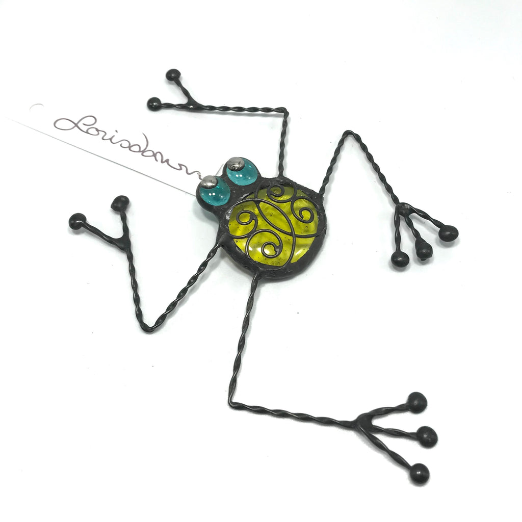 Glass and Wire Frog with Yellow Glass