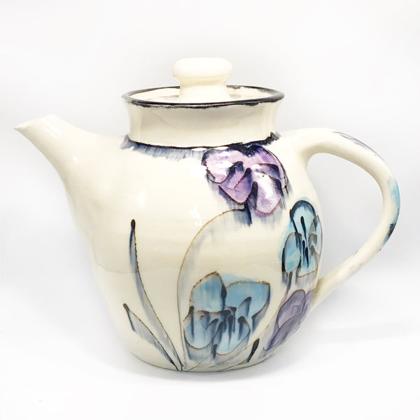 Blue and Purple Coloured Wild Flowers Teapot