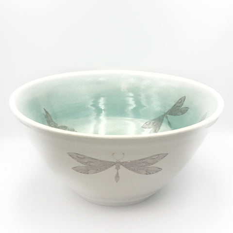 Pottery Bowl Large Ocean Shores Hummingbird, Dragonfly design
