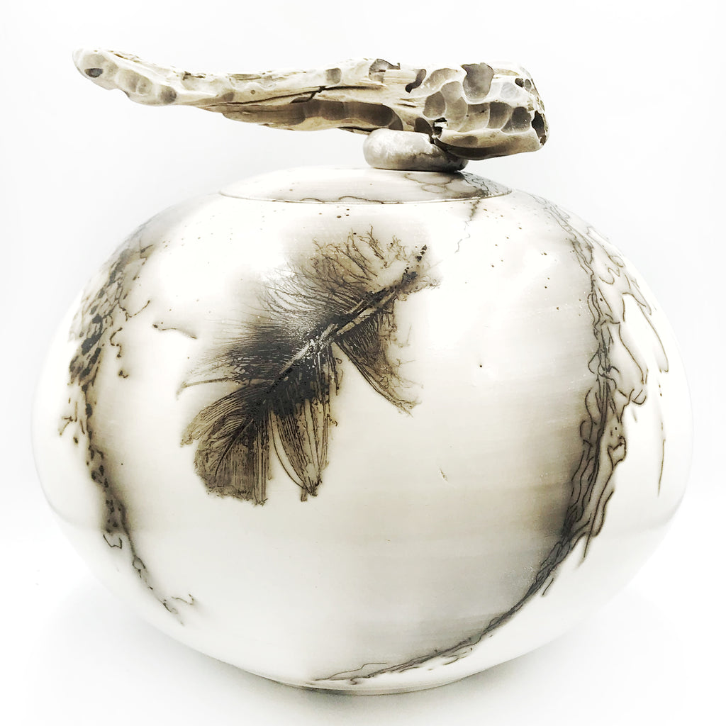 Horsehair and Feather Lidded Decorative Pot