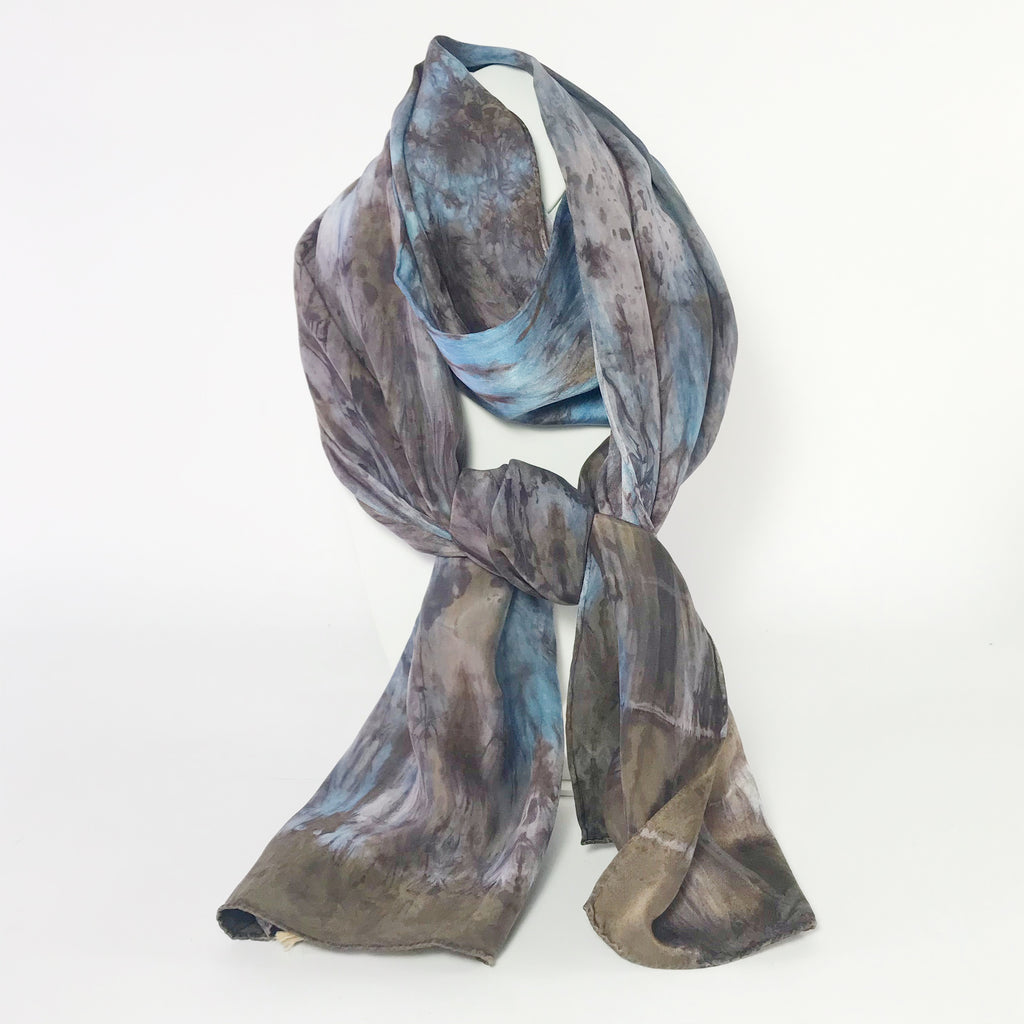 Indigo and Chinese Gall Hand Dye Blue Brown Silk Scarf