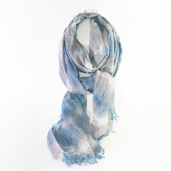 Indigo and Chinese Gall Hand Dye Linen Scarf
