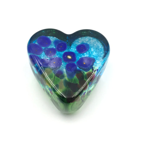 Blue Poppy Small Glass Heart Paperweight