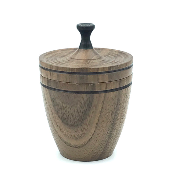 Medium Lidded Vessel, Walnut and Ebony Handle
