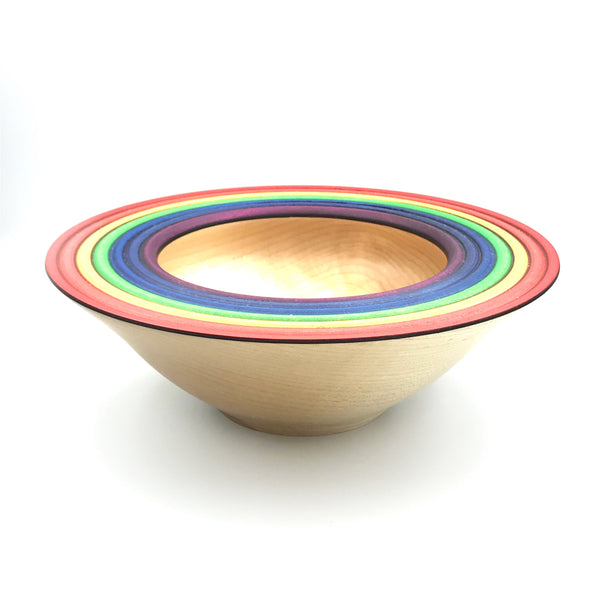 Maple Wooden Bowl with Rainbow Design