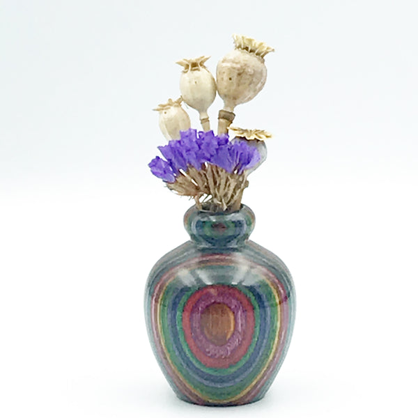 Mini Dyed Laminated Birch Wood Vase, Purple, Grey and Teal