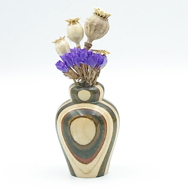Mini Dyed Laminated Birch Wood Vase, Natural, Green and Brown Color