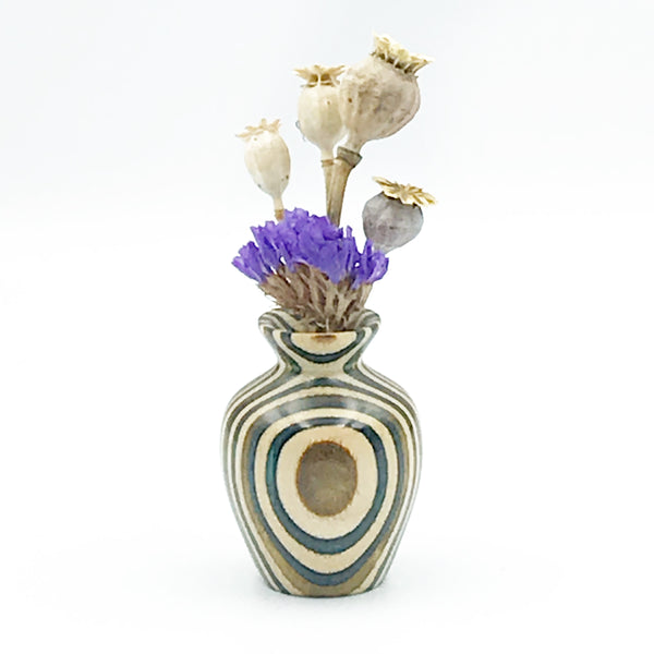 Mini Dyed Laminated Birch Wood Vase, Natural, Green and Mustard Color