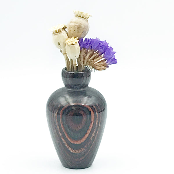 Mini Dyed Laminated Birch Wood Vase, Dark Wood and Grey Color