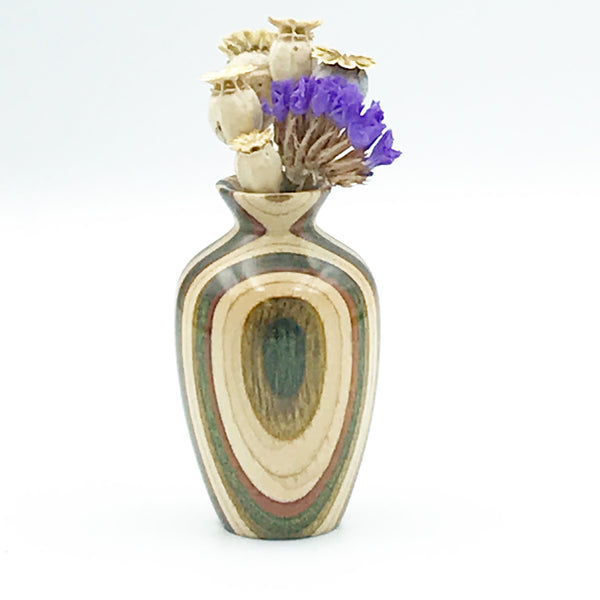 Mini Dyed Laminated Birch Wood Vase, Natural, Olive and Brown Color