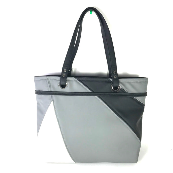 Large White, Grey and Black Vegan Tote