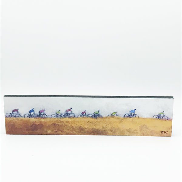 "Art on Block Mount with Group of Bikers Across the Field "" 3"" x 12"""