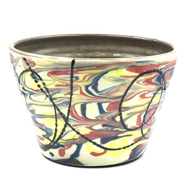 Ceramic Bowl in Cream with Multi-coloured Marble Design