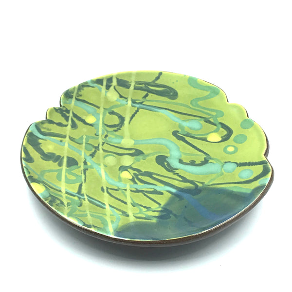 Small Round Plate, Green with Blue Swirl Design