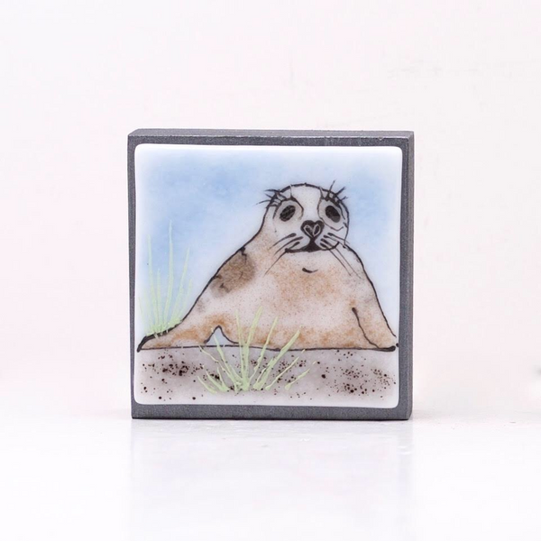 "Fused Glass Art, Brown Seal, 3"" x 3 """