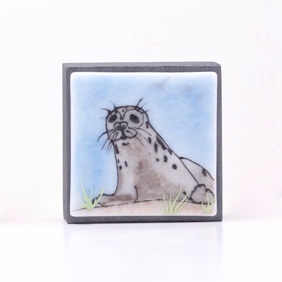 "Fused Glass Art, Grey Spotted Seal, 3"" x 3 """